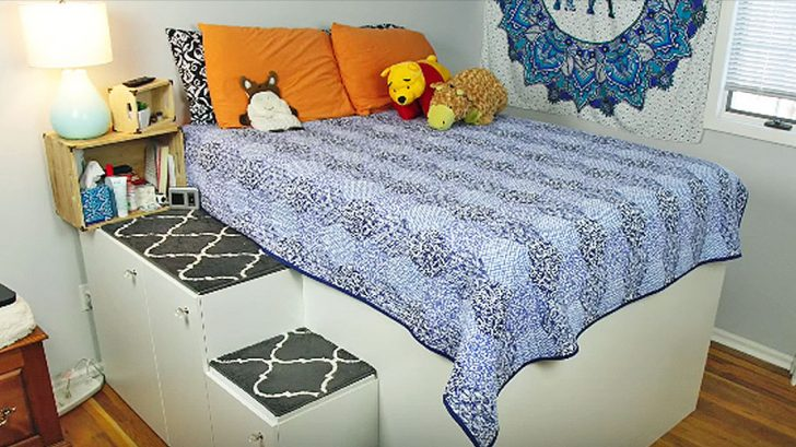 d90ca355da Add 70 Cubic Feet Of Space To Your Room With This DIY Bed Frame.  Advertisement. HandyDadTV / YouTube