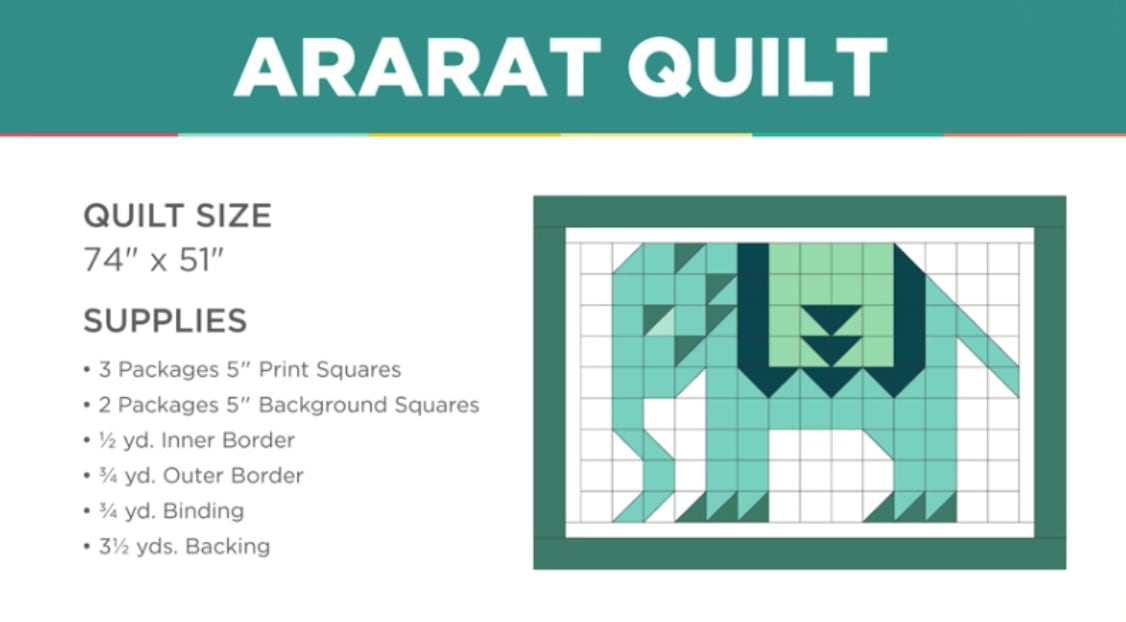 Ararat Quilt - Cute Political Quilt Pattern for Elephant - jenny Doan Pattern by Missouri Star Quilt Company