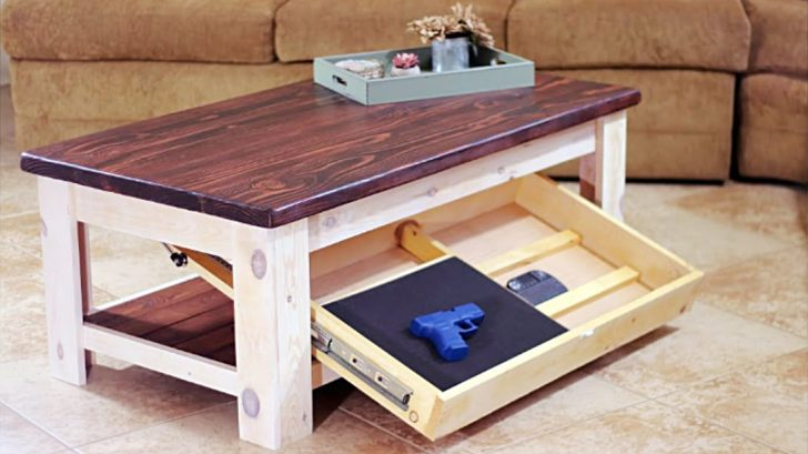 Secret Drawer Turns Rustic Coffee Table