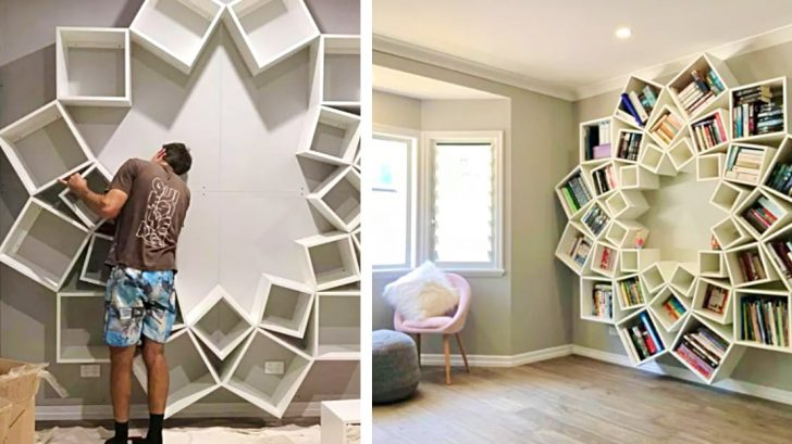 Clever Parents Build Bookcase With Only Boxes Diy Ways