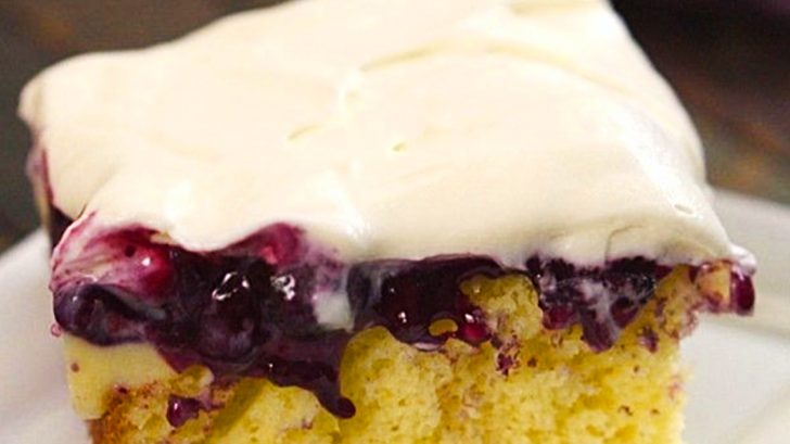 Learn to make this quick and easy Blueberry Poke Cake