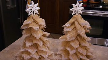 Learn to make burlap Christmas Trees from Dollar Tree Cones