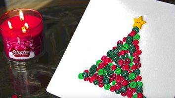 Make easy, attractive, inexpensive Button Wall Art Christmas Tree this holiday season