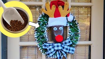 Learn to make this quick easy cheap DIY Wreath from a pet food scoop