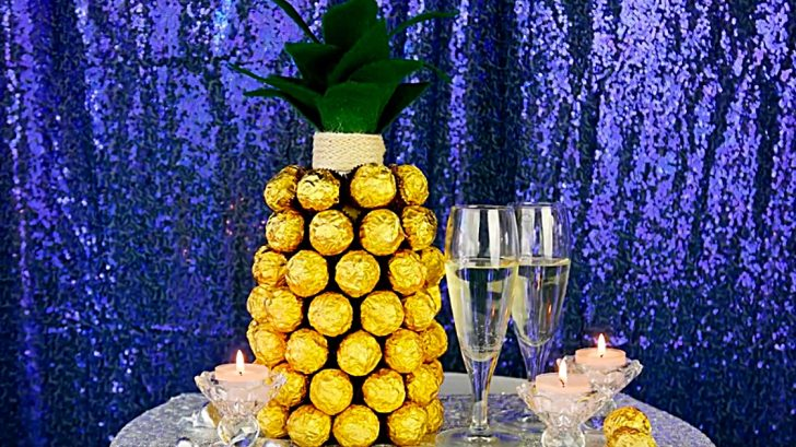 Learn to make a quick east last minute DIY Ferrero Roche Pineapple Champagne Gift