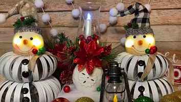 Learn to make a snowman out of mason jar lid rings