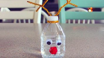 Turn plain water bottles into rudolf the red nosed reindeer