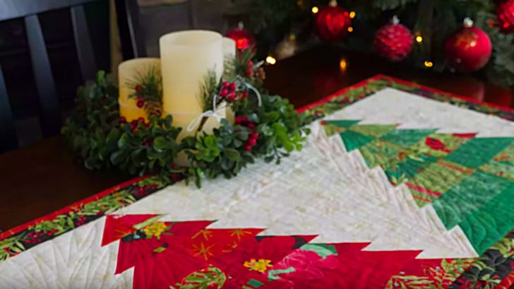 Learn to Make a Christmas Tree Quilted Table Runner For The Holidays