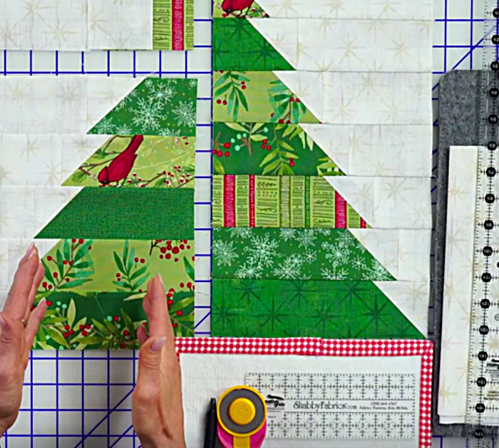 Learn this simple DIY quilted Christmas Tree Table Runner for Christmas