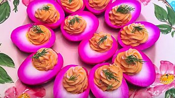Learn to make red hot deviled eggs recipe