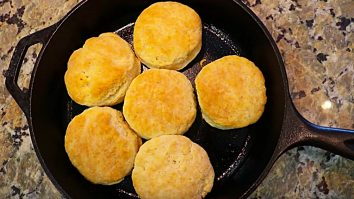 Learn to make delicious quick easy Cracker Barrel Copycat cast iron cooked fluffy biscuits