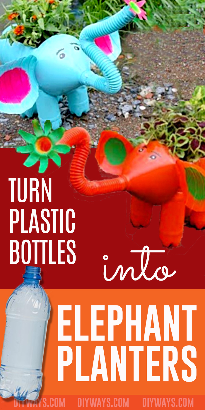 Cheap DIY Crafts Ideas for Garden - DIY Elephant Planter Plastic Bottle Craft Idea