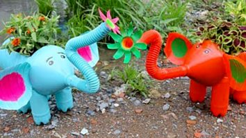 Learn to make a DIY Elephant Planter out of an old recycled plastic bottles