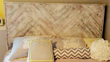 Learn to make a beautiful DIY Herringbone Headboard from a recycled Upcycled old pallet