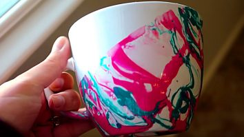Learn to make a DIY Marbleized Coffee Mug for gifts and fun
