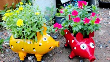 Learn to make DIY Piggy Planters from old recycled plastic bottles