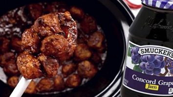 Make three ingredient crockpot meatballs with grape jelly and chili sauce