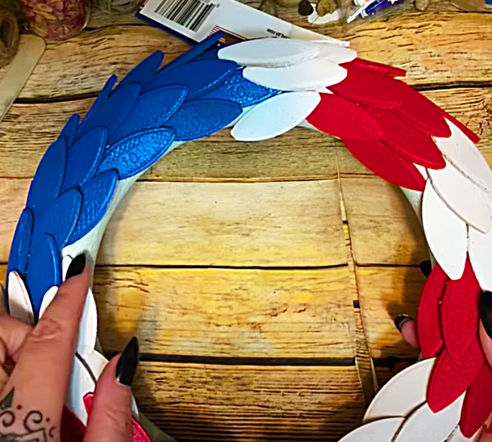 Glue Spray Painted Wooden Biscuits Onto A Wreath Form To Make An American Flag Wreath