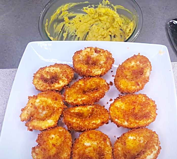 Make A Mustard Filling For Deep-Fried Deviled Eggs