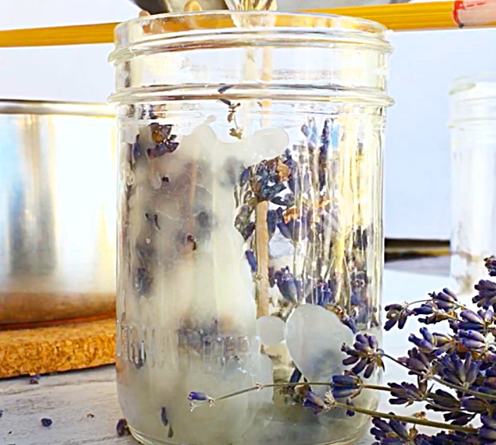 Melt Beeswax To Make Homemade Lavender Candles